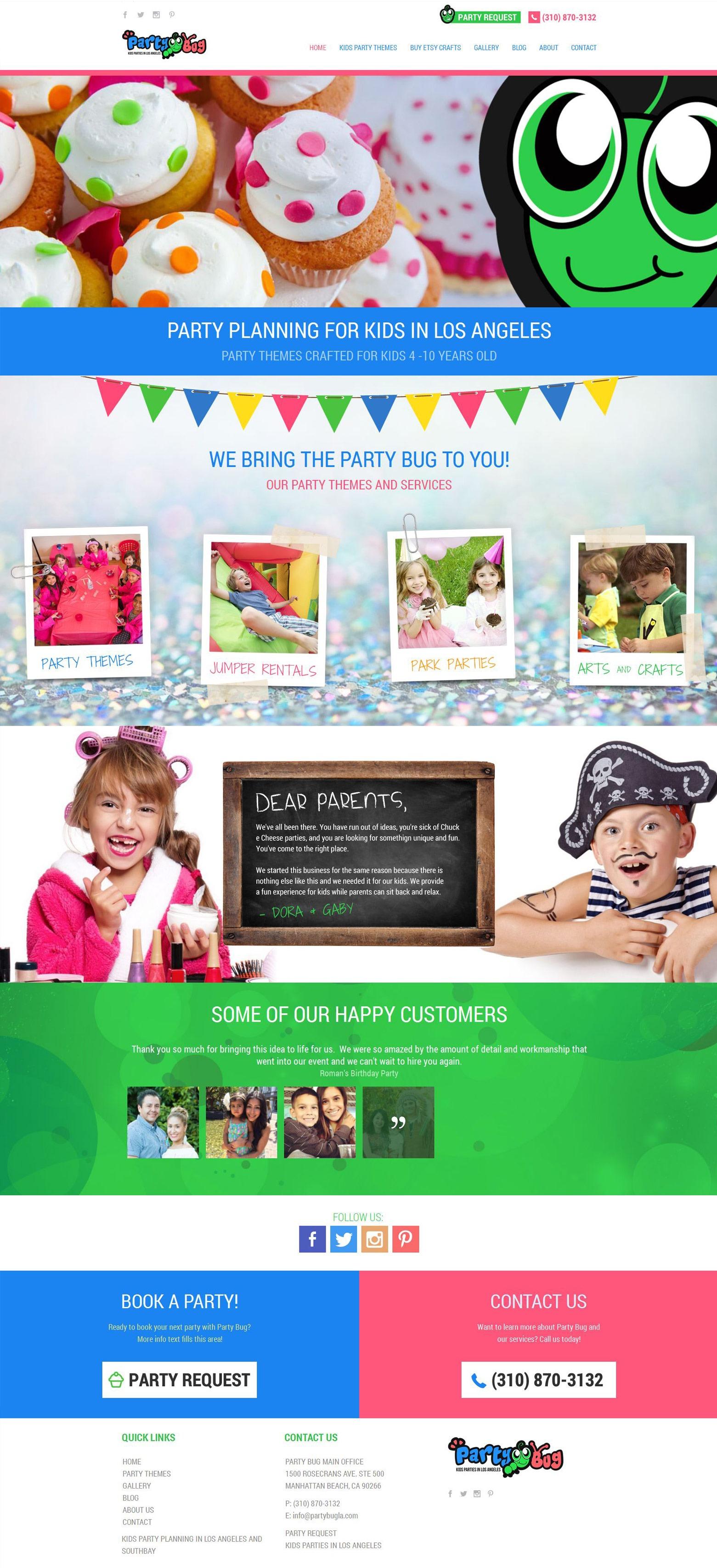 LA Angeles Party Planning Web Design Company
