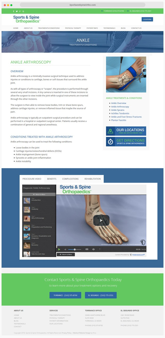 Sports Medicine Website Company